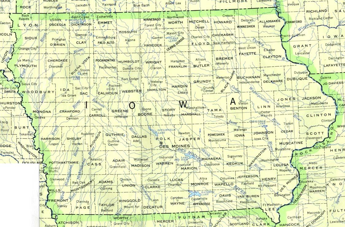 Map of Iowa (Political Map) : Worldofmaps.net - online Maps ...