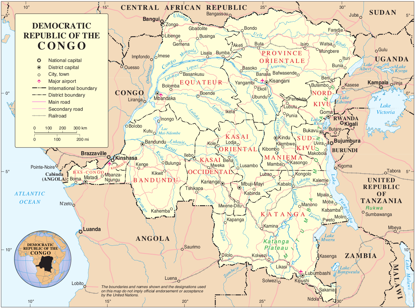 Map of Democratic Republic Congo (Political Map ...