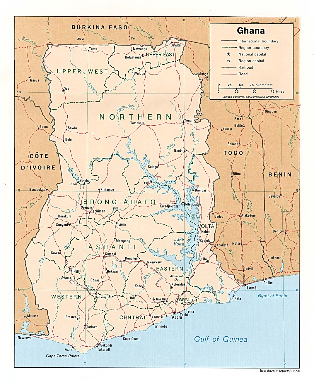 Map of Ghana (Political Map) : Weltkarte.com - Karten und ...