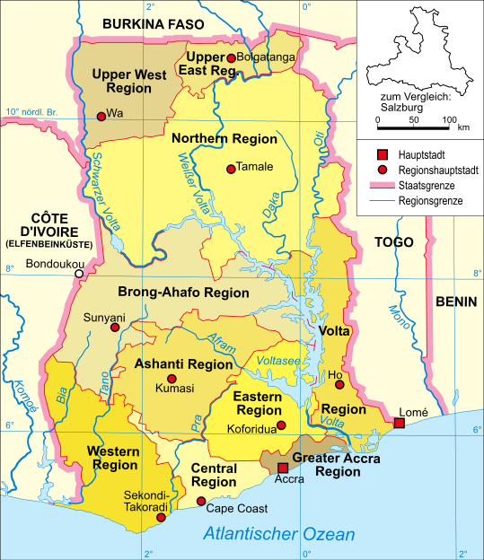 Map of Ghana (Overview Map/Provinces) : Worldofmaps.net - online ...