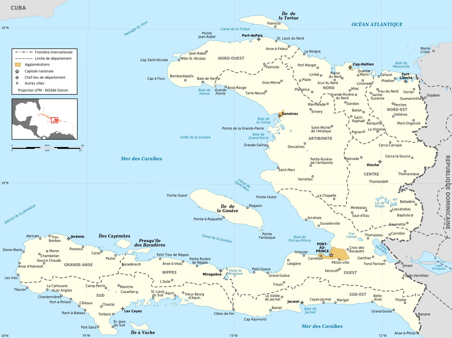 Map of Haiti (Political Map) : Weltkarte.com - Karten und Stadtpläne ...