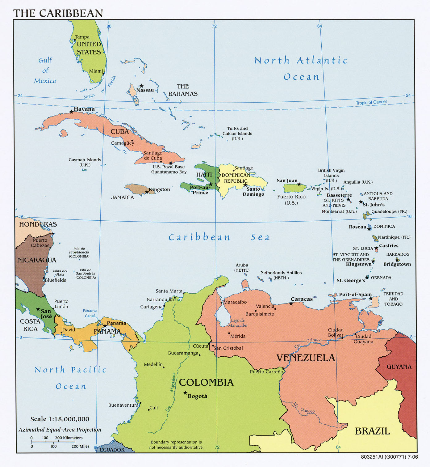 Map of the Caribbean (Political Map) : Worldofmaps.net - online Maps ...
