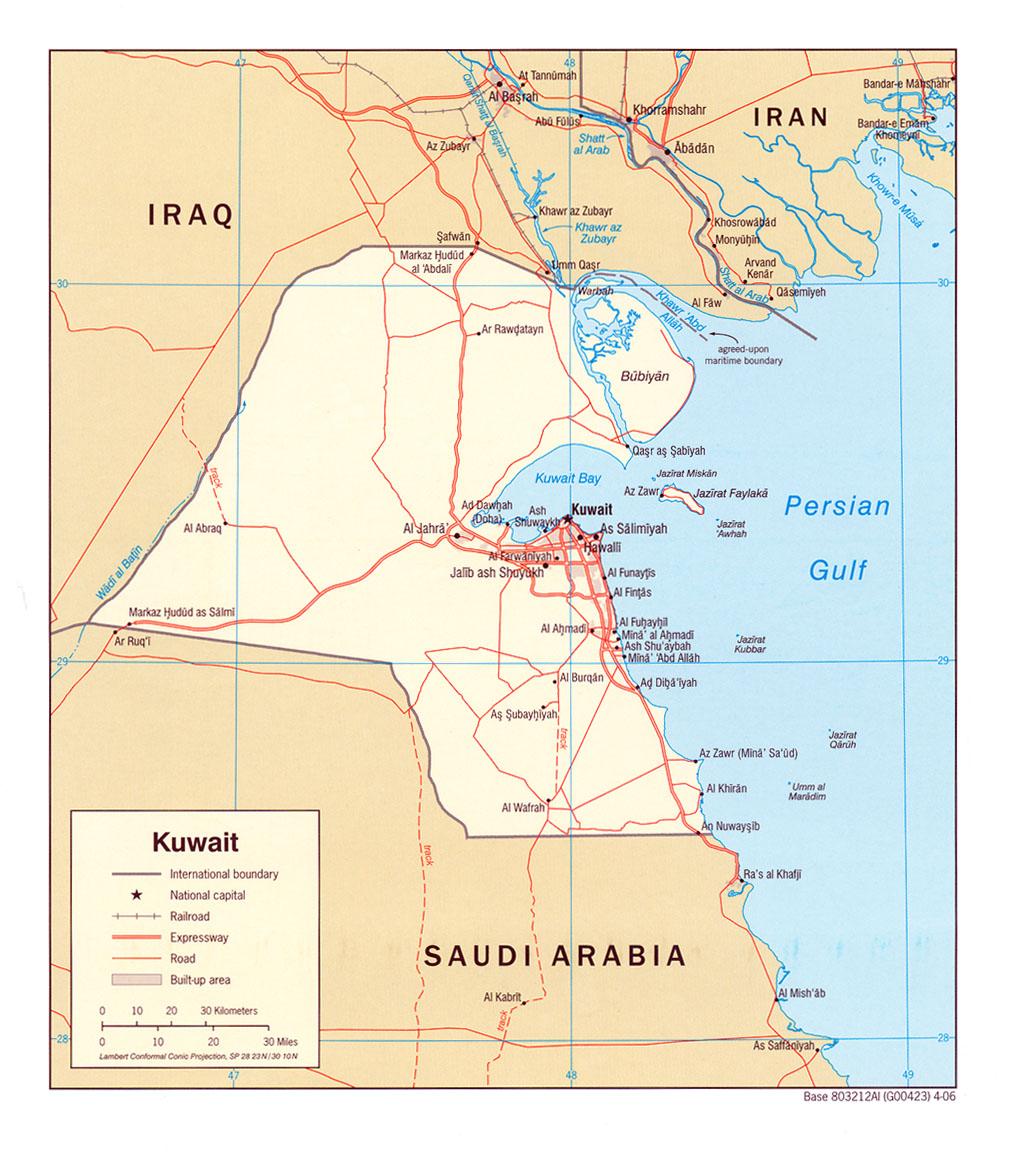 Map of Kuwait (Political Map) : Weltkarte.com - Karten und ...