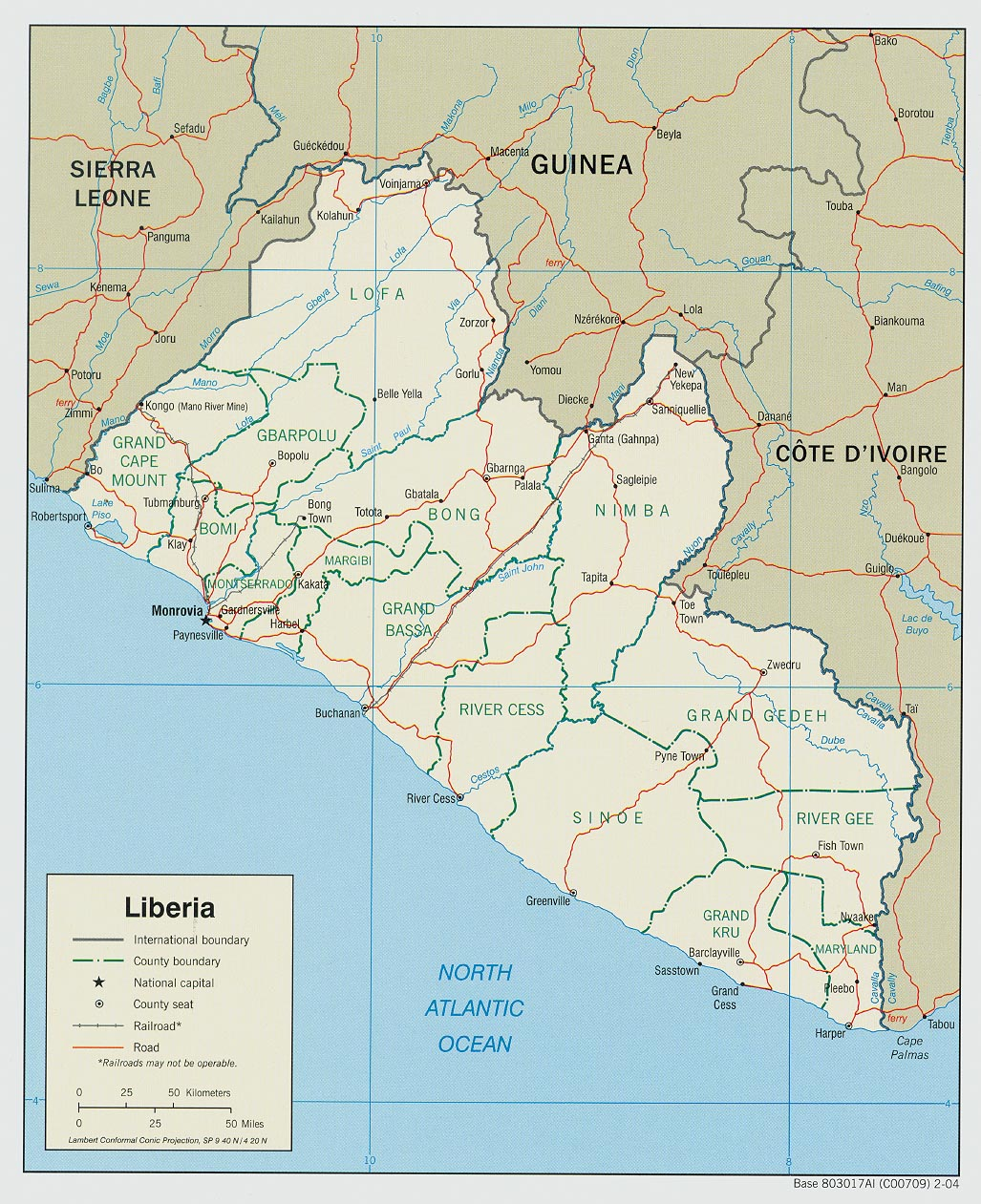 Map of Liberia (Political Map) : Weltkarte.com - Karten und ...