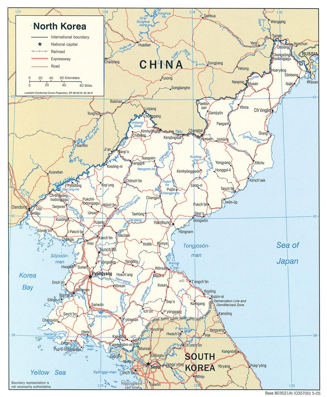 Map of North Korea (Political Map) : Weltkarte.com - Karten ...