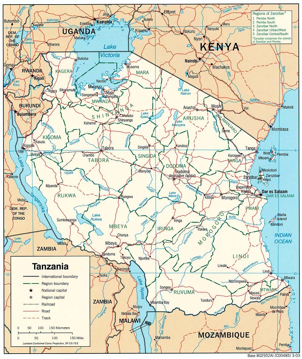 Map Of Tanzania Political Map Weltkarte Com Karten Und