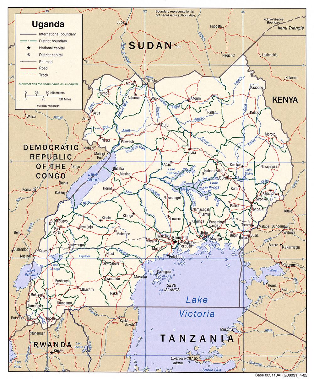 Map of Uganda (Political Map) : Weltkarte.com - Karten und ...