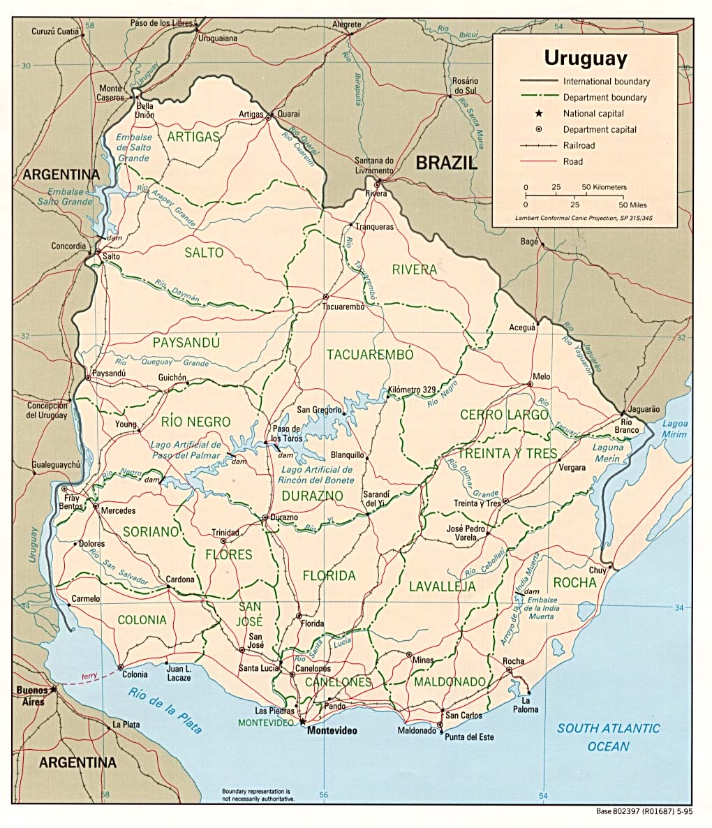 Map of Uruguay (Political Map) : Worldofmaps.net - online Maps and ...