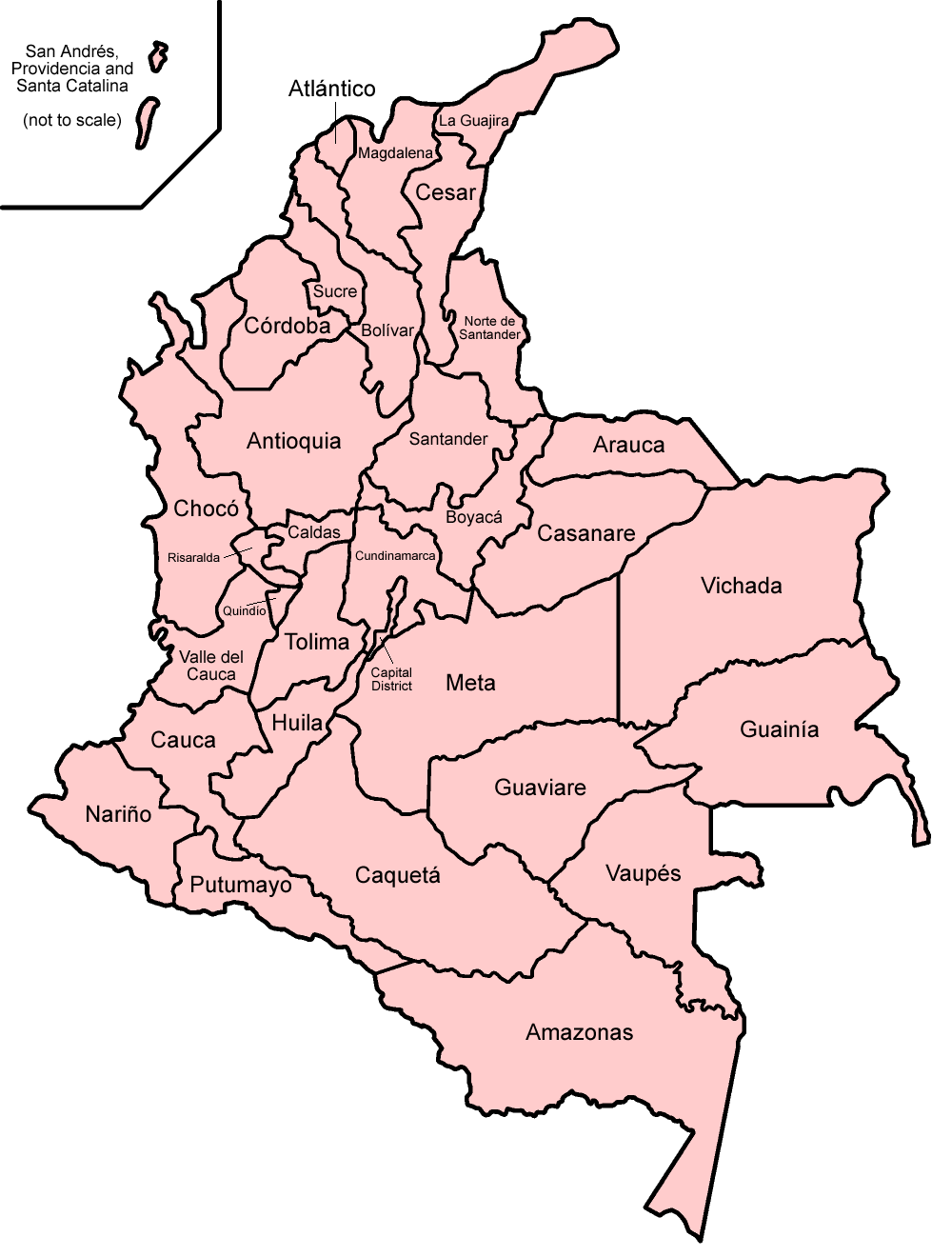 Map of Colombia Administrative Divisions Worldofmapsnet