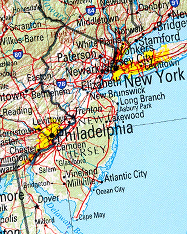 Map of New Jersey (Overview Map) : Worldofmaps.net - online ...