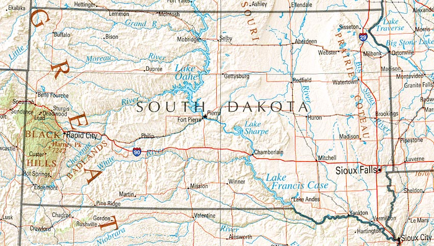 Map of South Dakota Overview Map Worldofmaps online Maps – South Dakota Travel Information Map