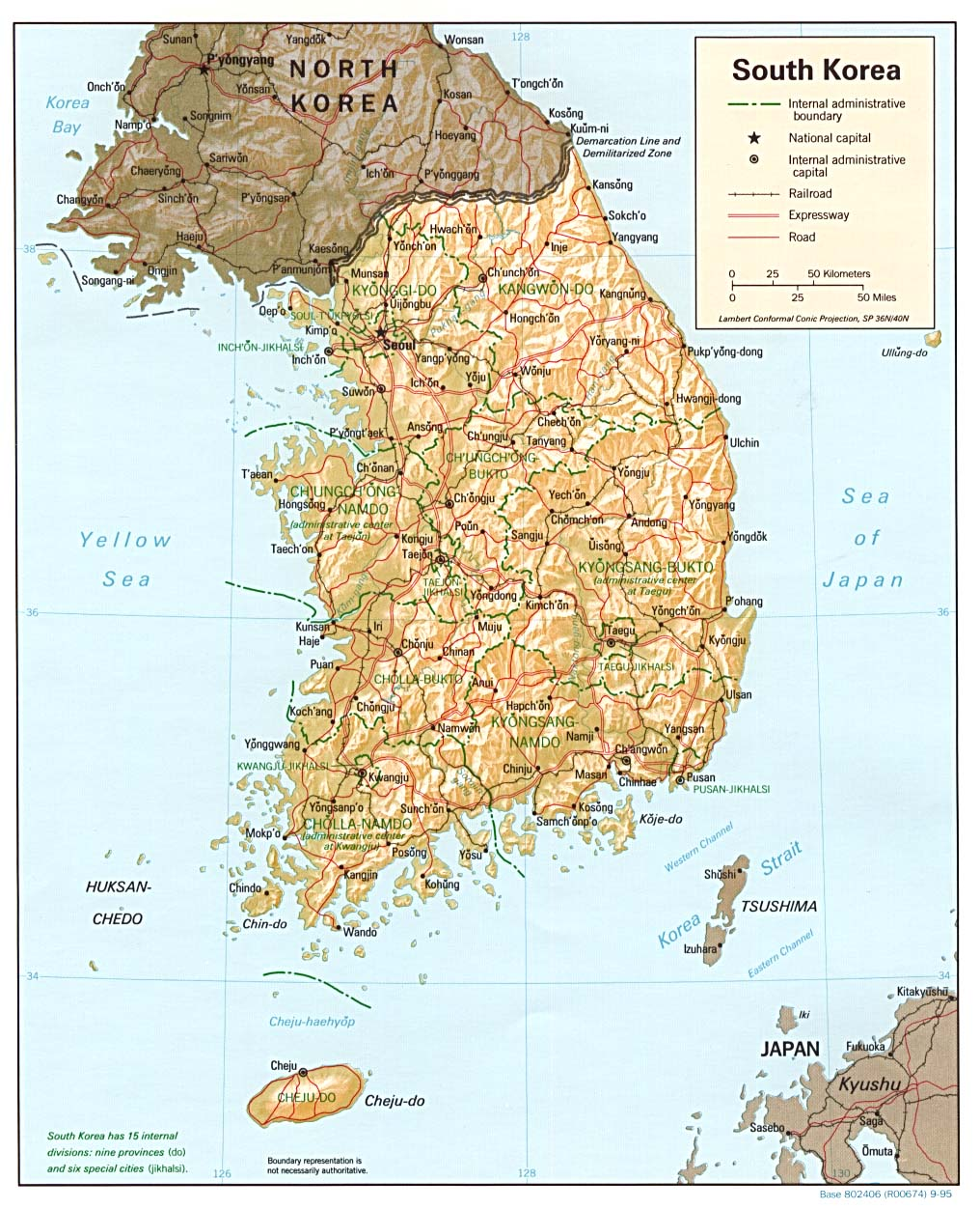 Map Of South Korea Relief Map Worldofmaps Net Online Maps