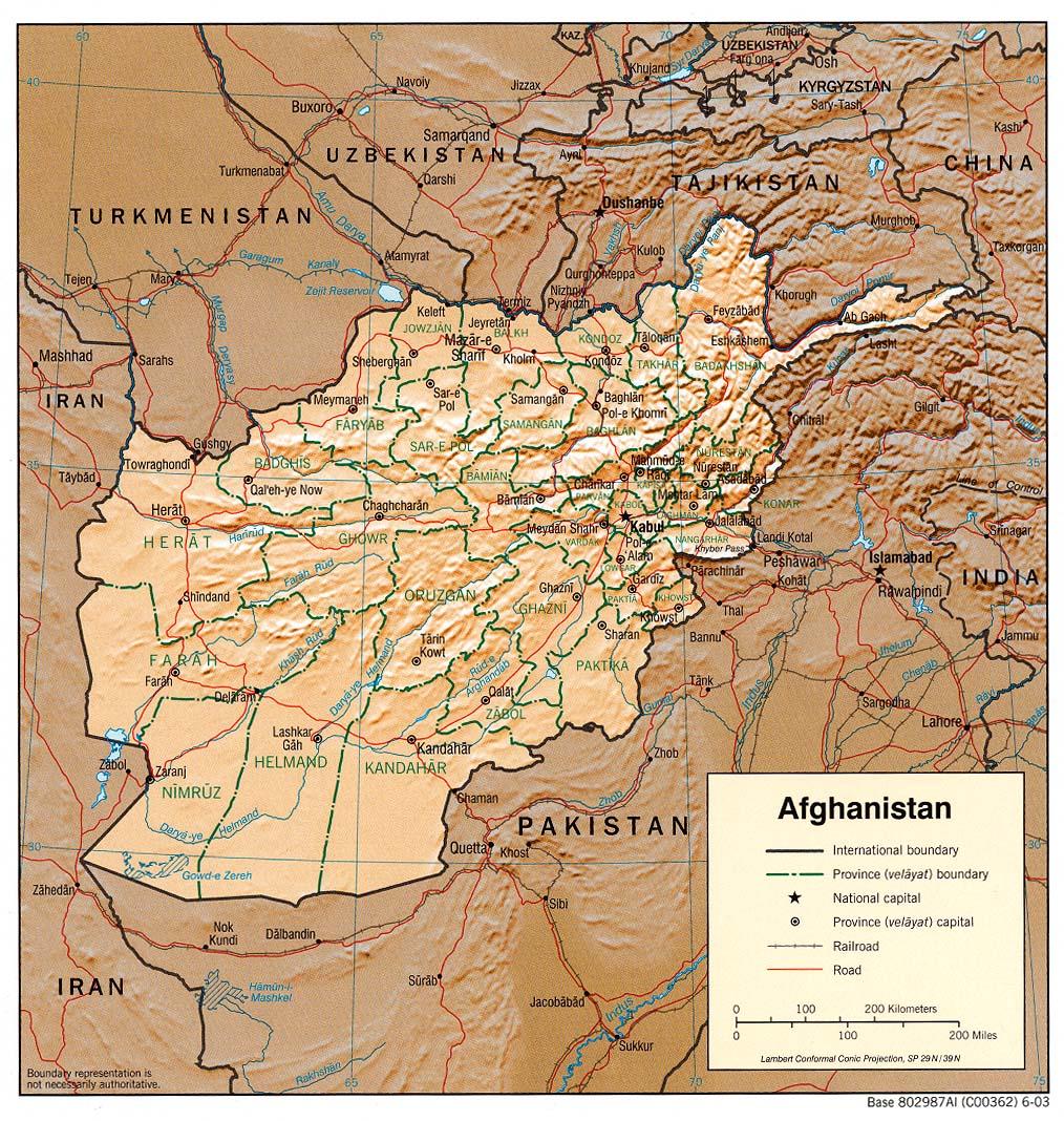 Map of Afghanistan (Relief Map) : Weltkarte.com - Karten und ...