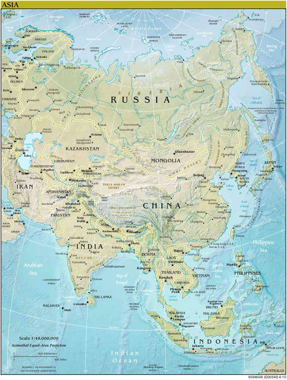 Map Of Asia Relief Map Worldofmaps Net Online Maps