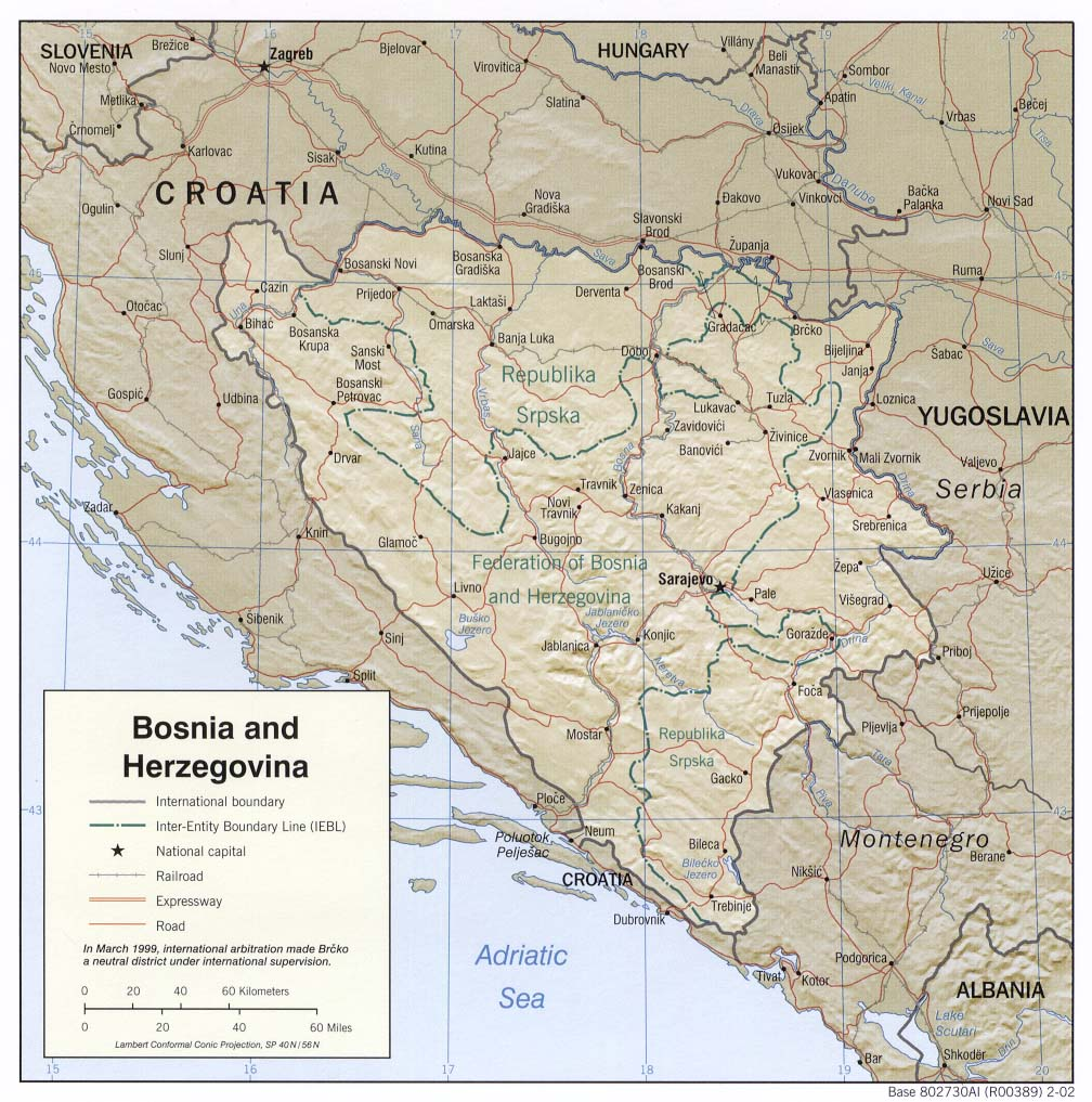 Map of Bosnia and Herzegovina (Relief Map) : Weltkarte.com - Karten Map Of Bosnia And Herzegovina on