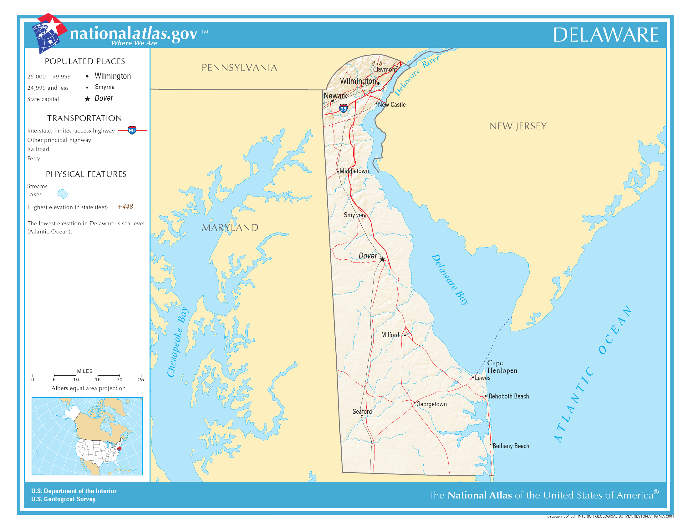 Map of Delaware (Relief Map) : Weltkarte.com - Karten und Stadtpläne Delaware On Map on
