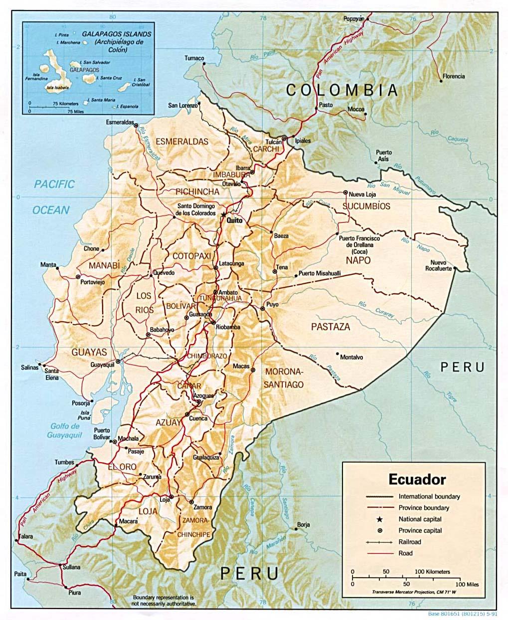 Map of Ecuador (Relief Map) : Weltkarte.com - Karten und Stadtpläne ...
