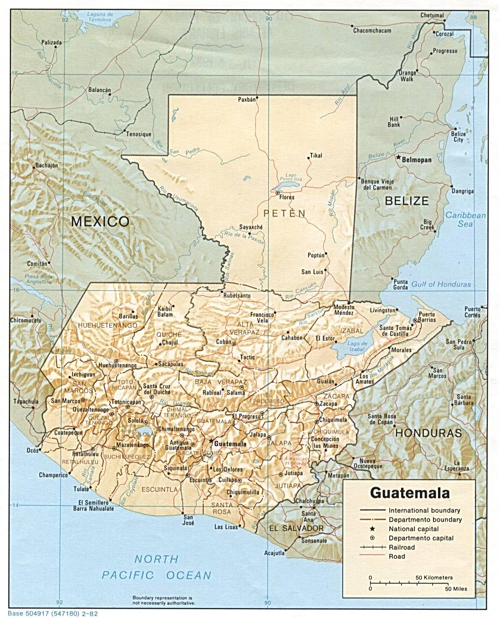 Map of Guatemala (Relief Map) : Weltkarte.com - Karten und ...