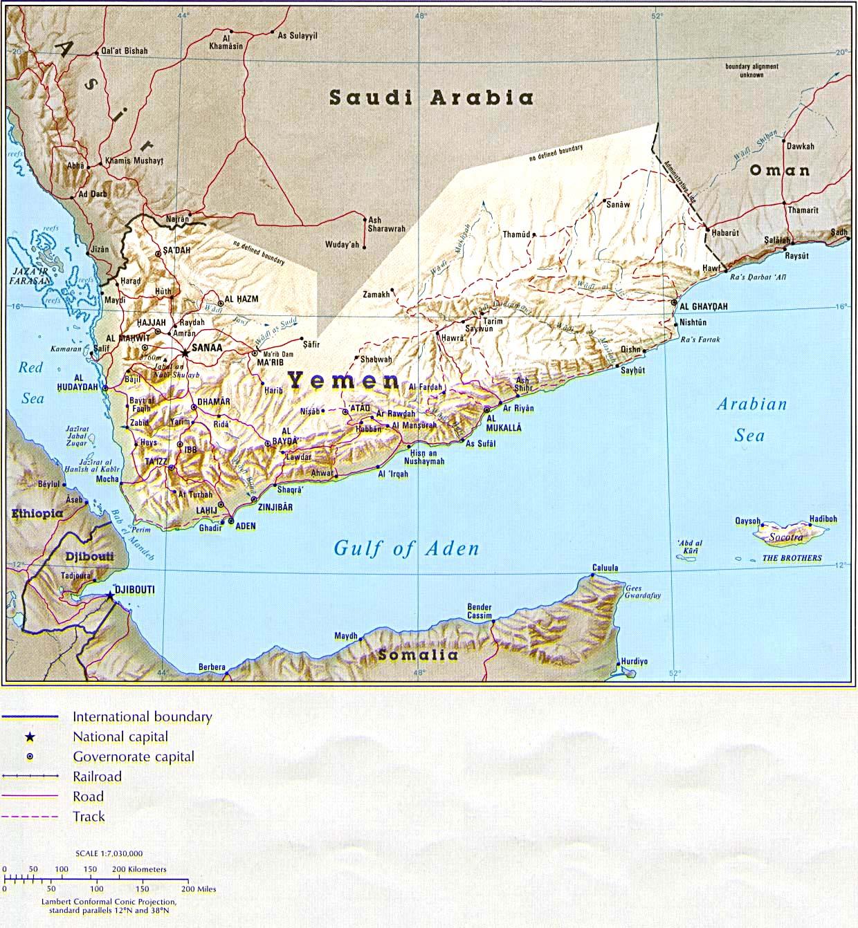 Map Of Yemen Relief Map Weltkarte Com Karten Und Stadtplane