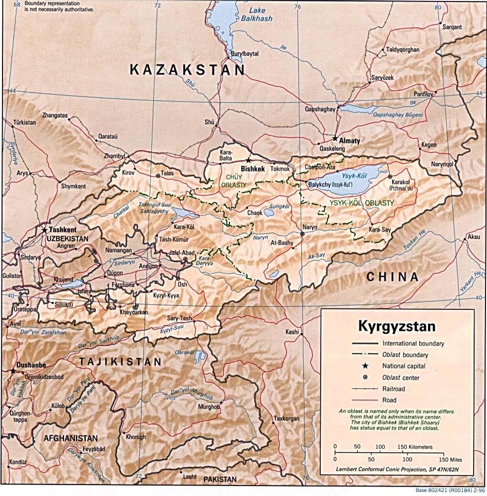 Map of Kyrgyzstan (Relief Map) : Weltkarte.com - Karten und ...