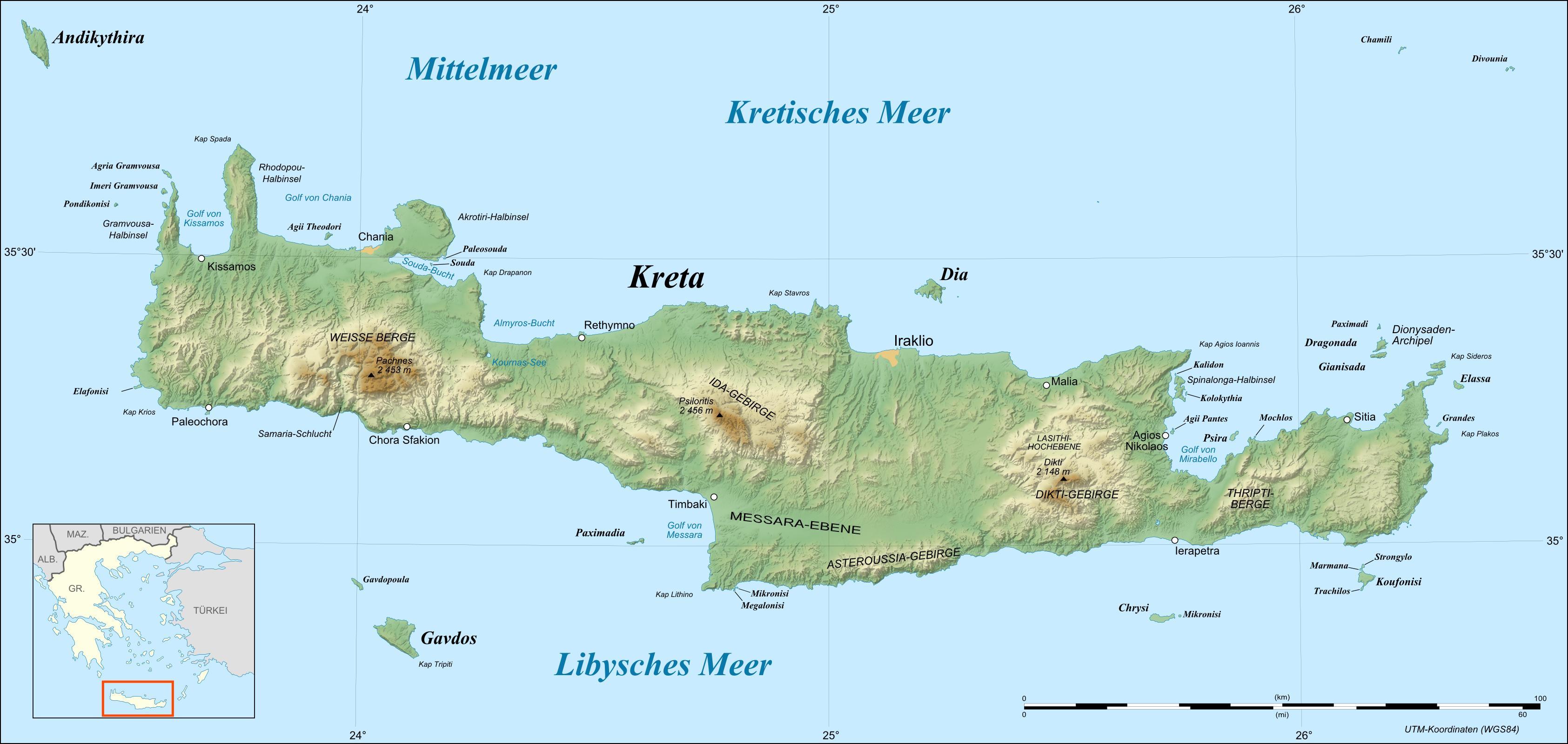 Map Of Crete Relief Map Weltkarte Com Karten Und Stadtplane