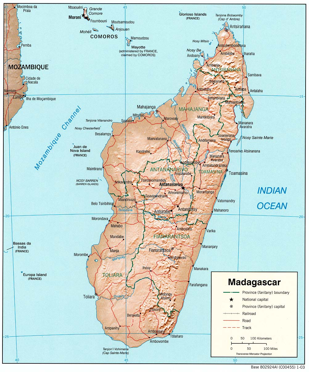 Map of Madagascar (Relief Map) : Weltkarte.com - Karten und ...