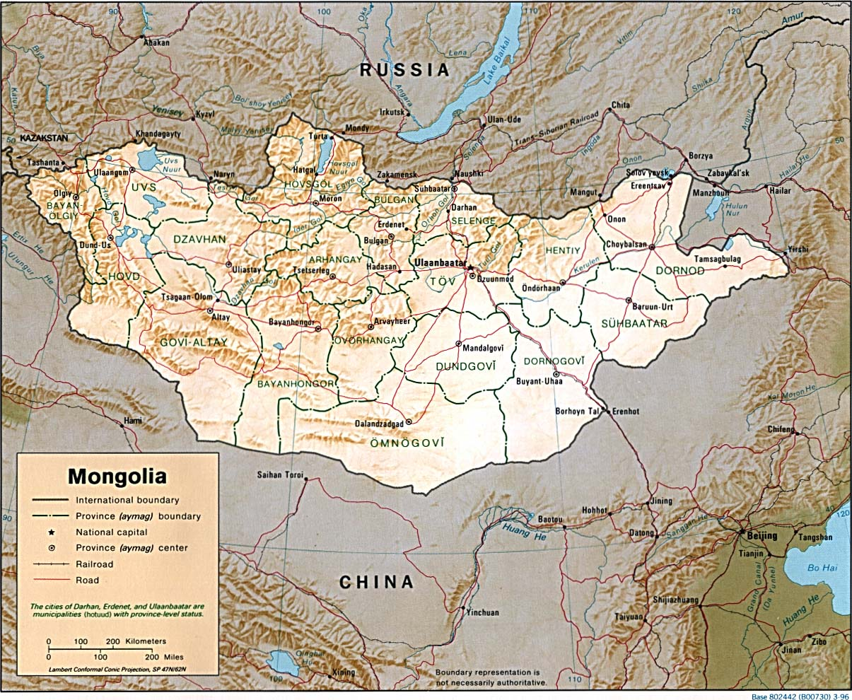 Map of Mongolia (Relief Map) : Weltkarte.com - Karten und ...