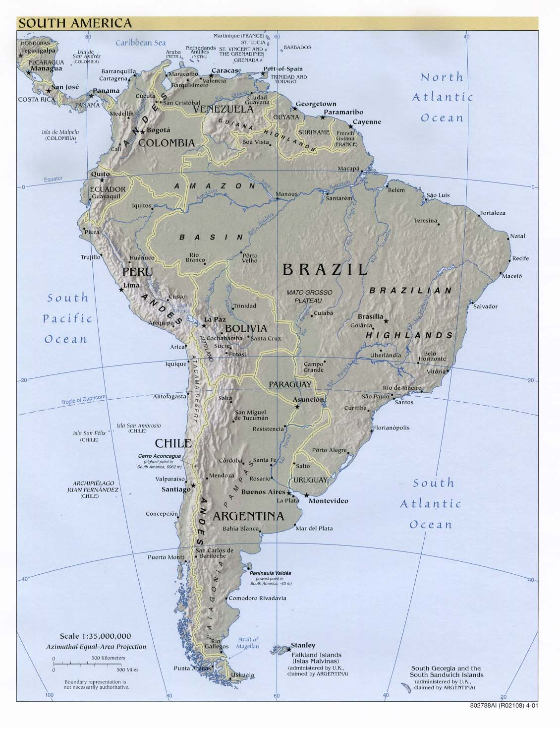 Map of South America (Relief Map) : Worldofmaps.net - online Maps ...