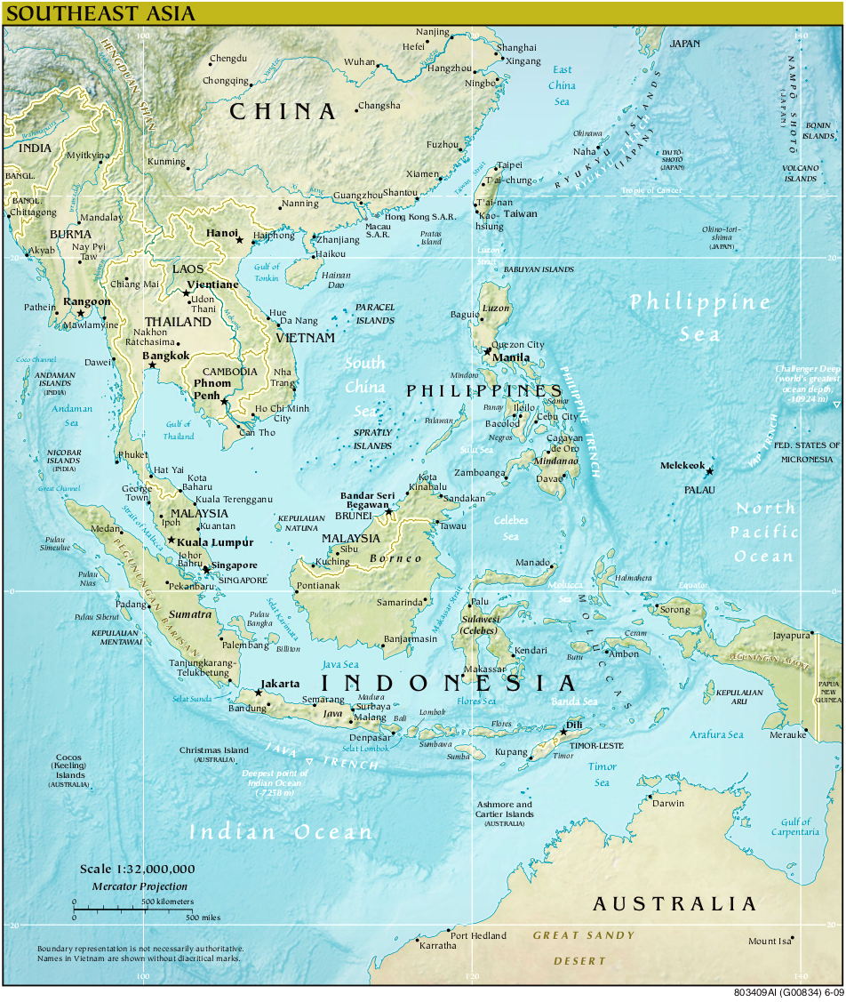 Map of South East Asia (Relief Map) : Worldofmaps.net - online Maps ...