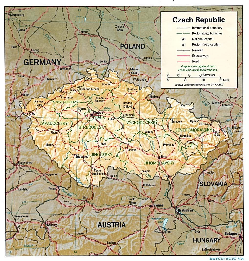 Map Of Czech Republic Relief Map Weltkarte Com Karten Und