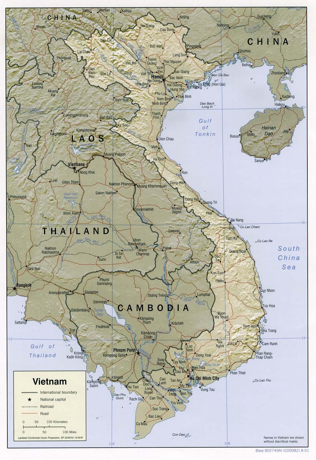 Map of Vietnam (Relief Map) : Weltkarte.com - Karten und ...