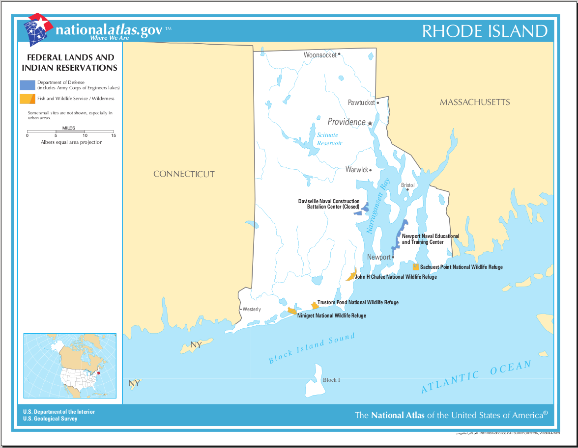 Map of Rhode Island (Map Federal Lands and Indian Reservations ...