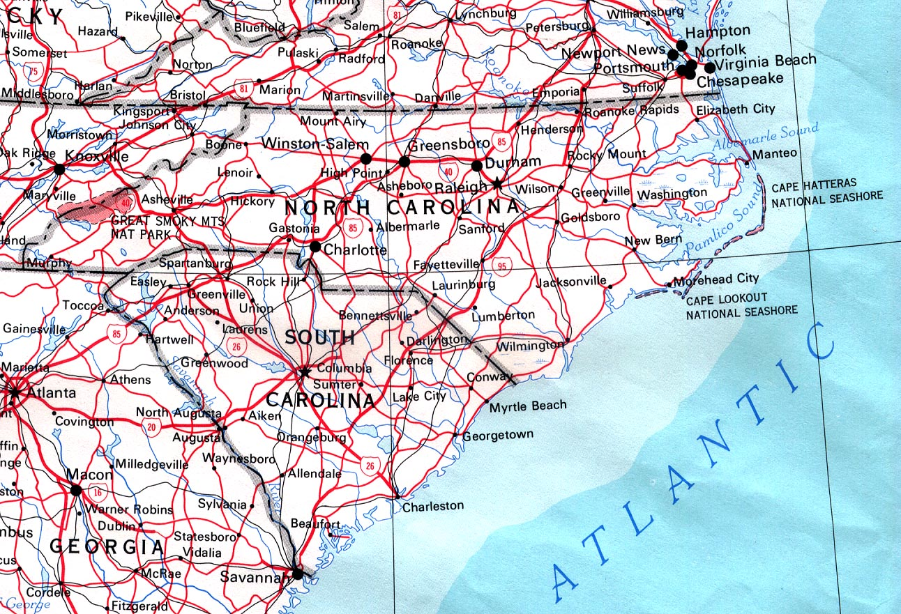 Map of North Carolina (Road Map) : Worldofmaps.net - online Maps and ...