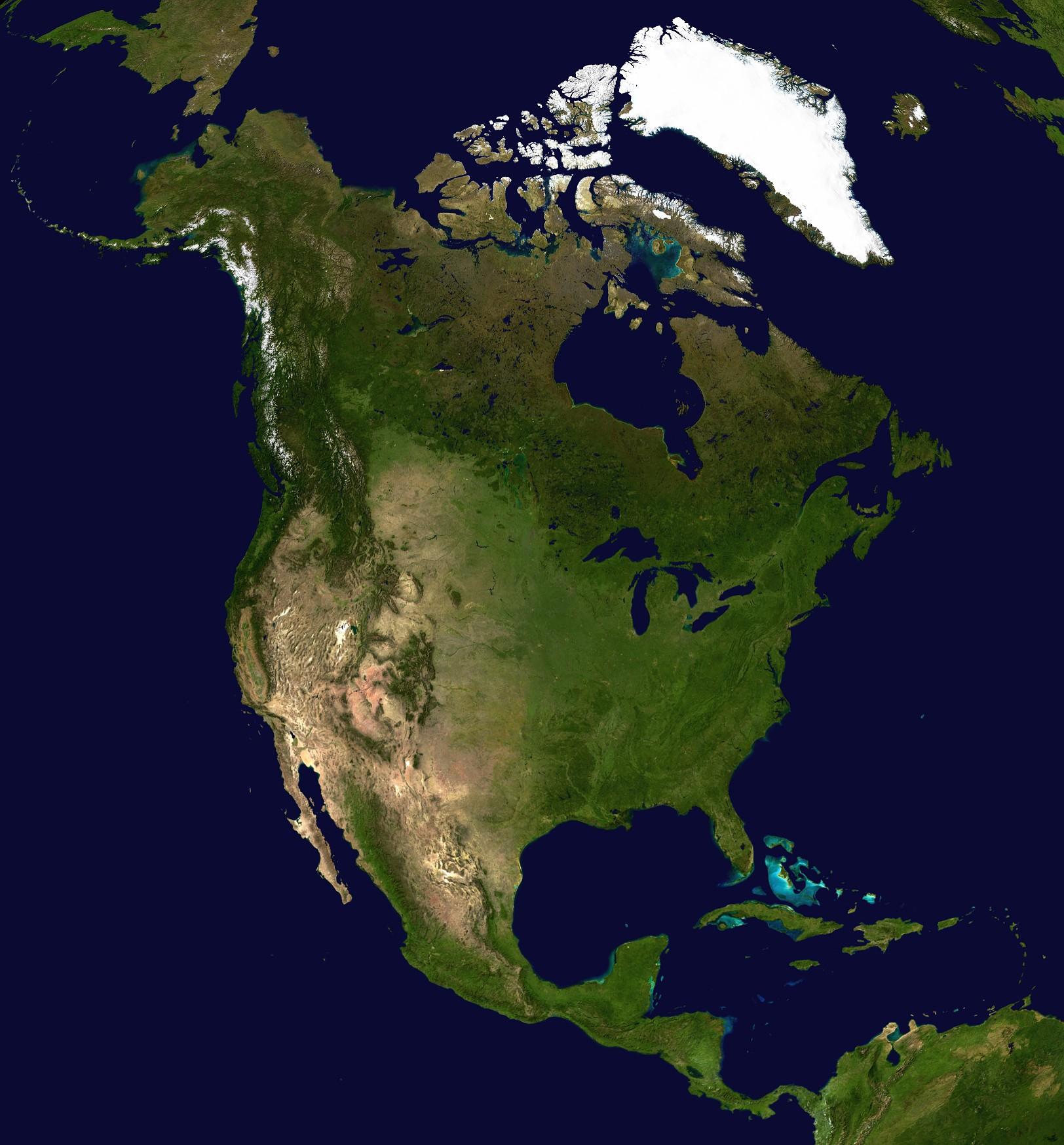 Map Of North America Satellite Map  Worldofmapsnet Online - Download map of north america
