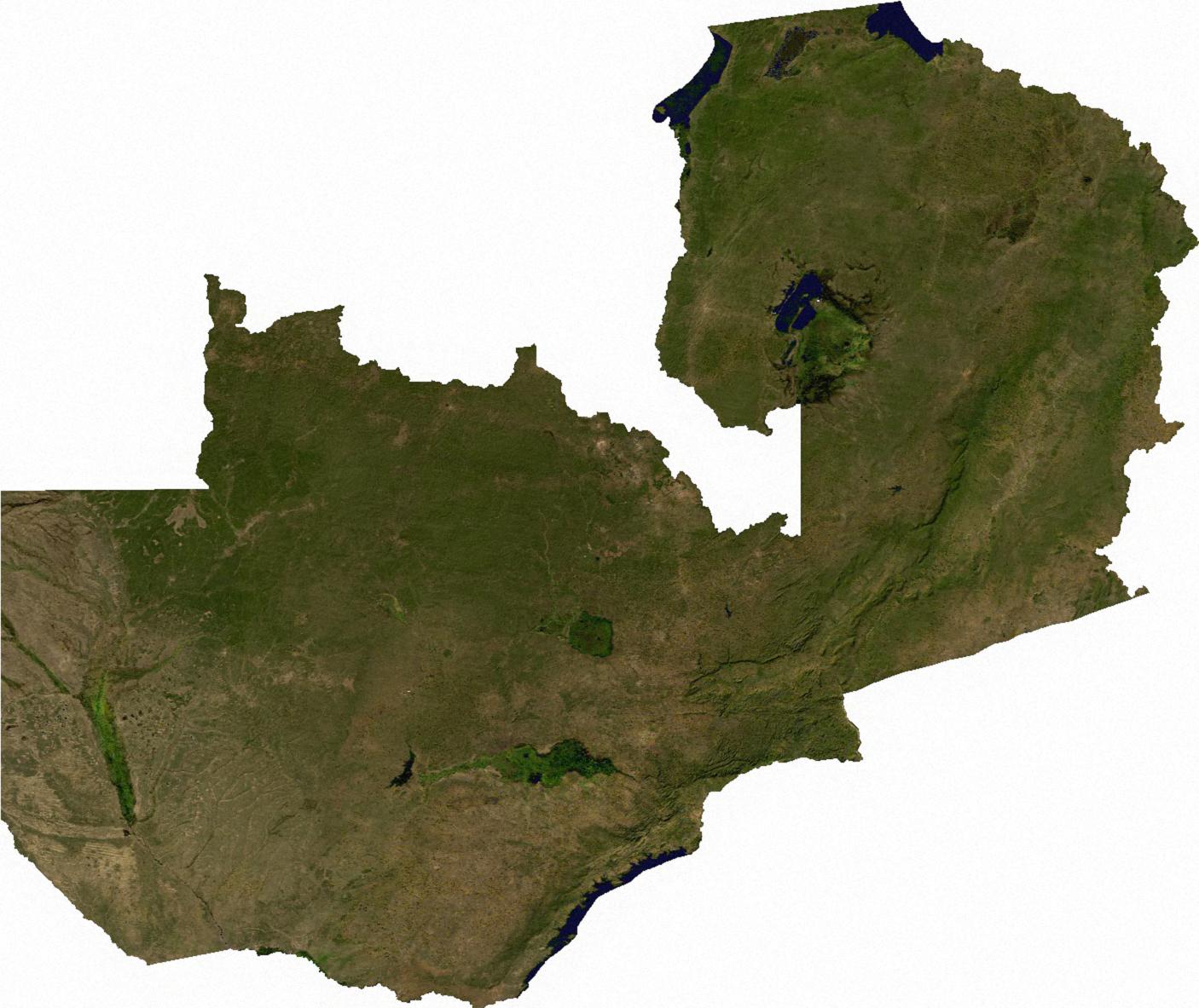 Map of Zambia (Satellite Map) : Weltkarte.com - Karten und ...
