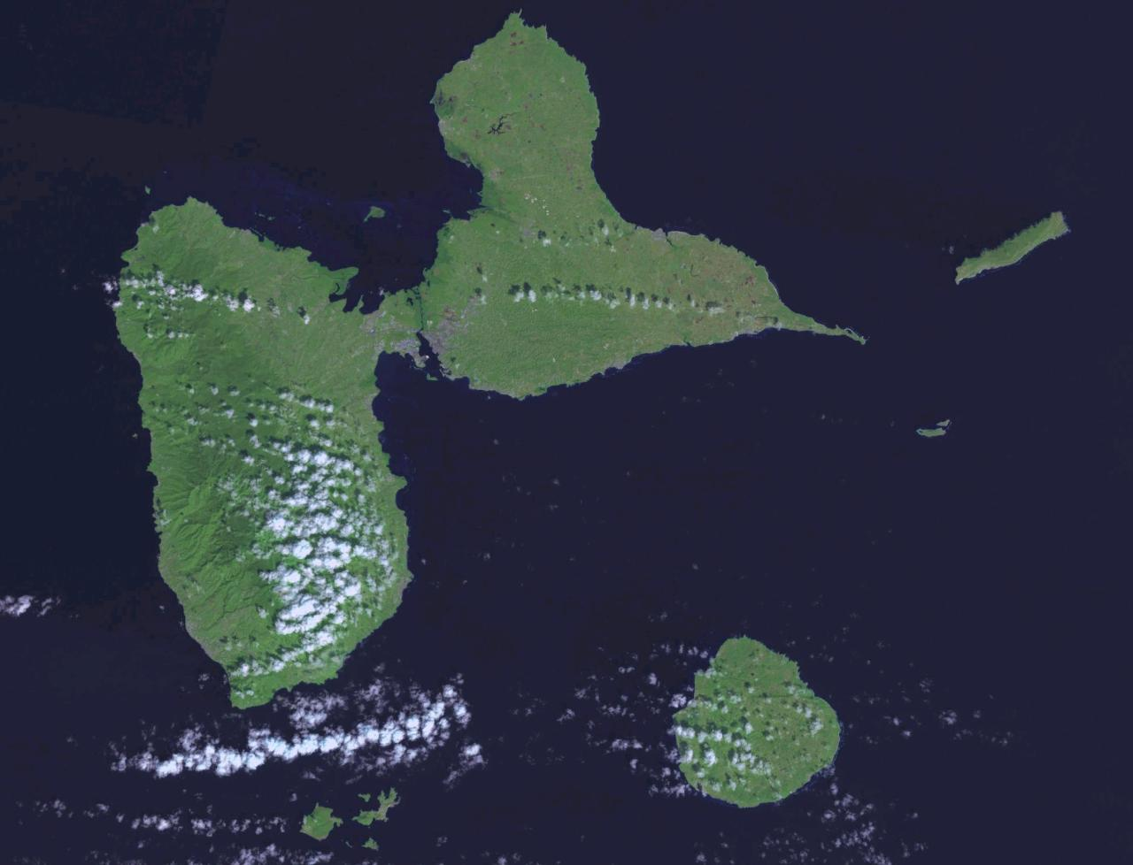 Map Of Guadeloupe Satellite Map Weltkarte Com Karten Und