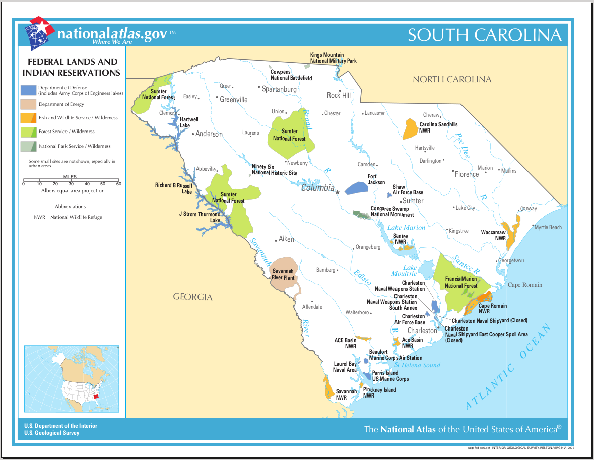 Map of South Carolina (Map Federal Lands and Indian Reservations ...