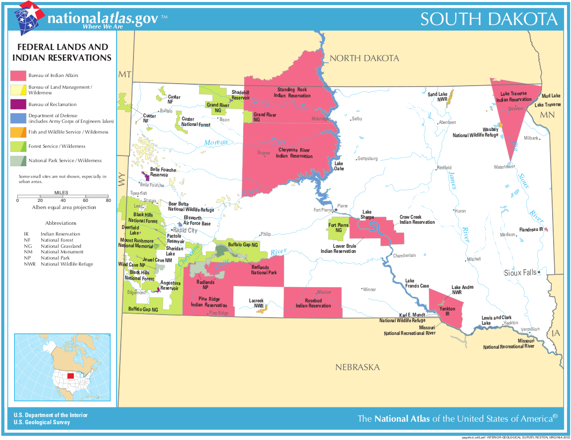 Map Of South Dakota Map Federal Lands And Indian