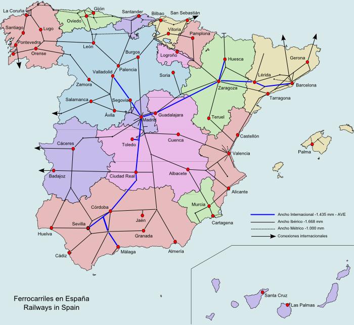 Map of Spain (Railway Services in Spain) : Worldofmaps.net - online ...