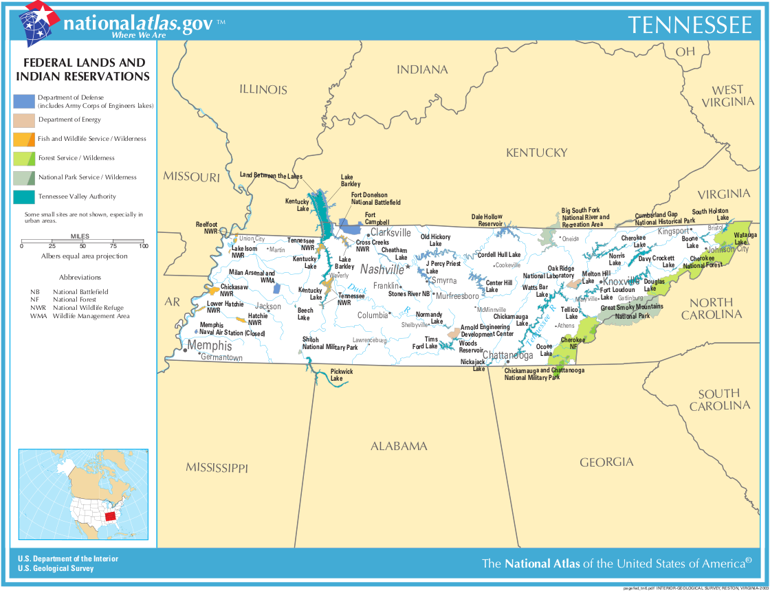 Map of Tennessee (Map Federal Lands and Indian Reservations ...