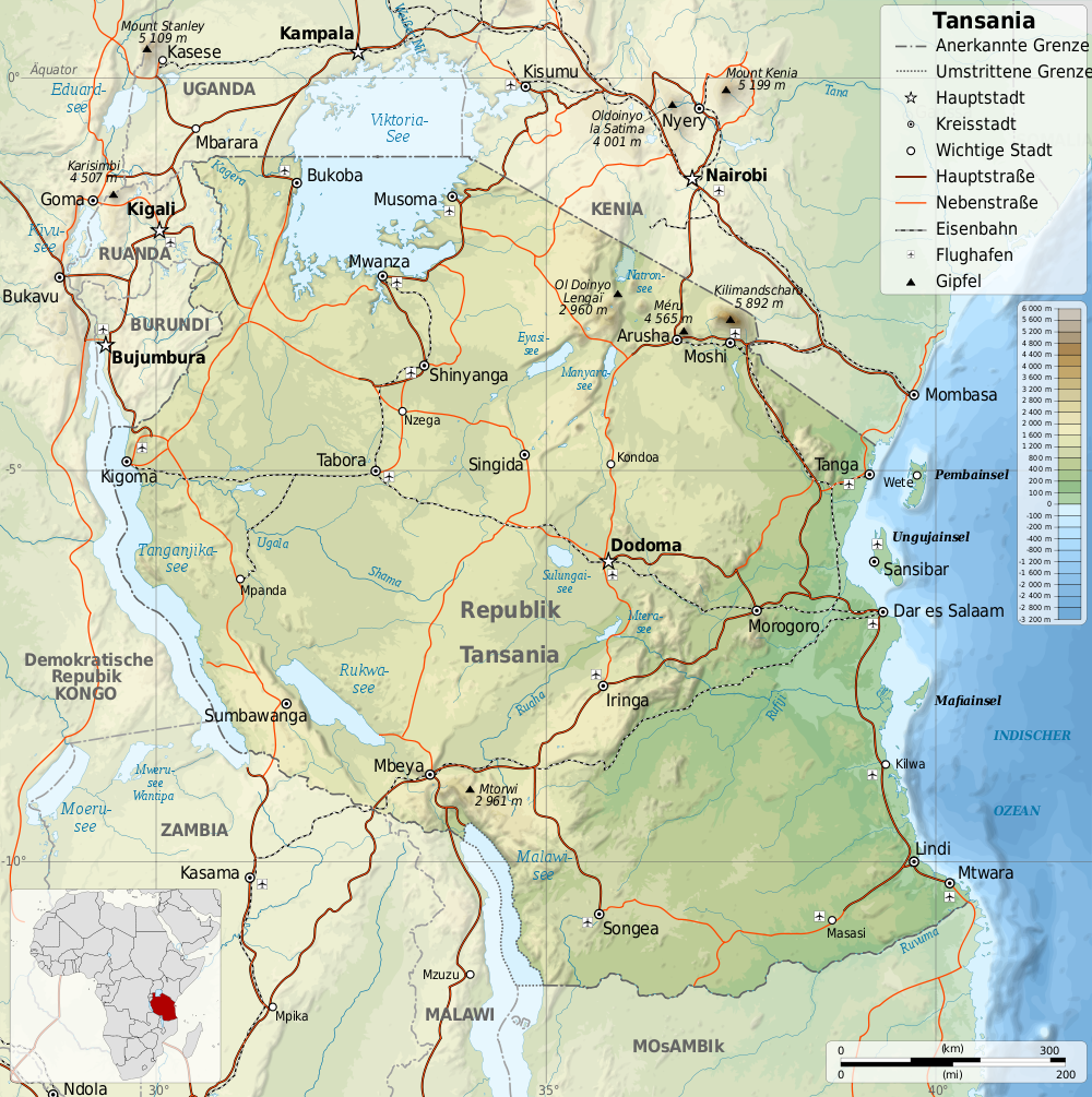 Map of Tanzania (Topographic Map, German) : Worldofmaps.net - online Online Topo Maps on