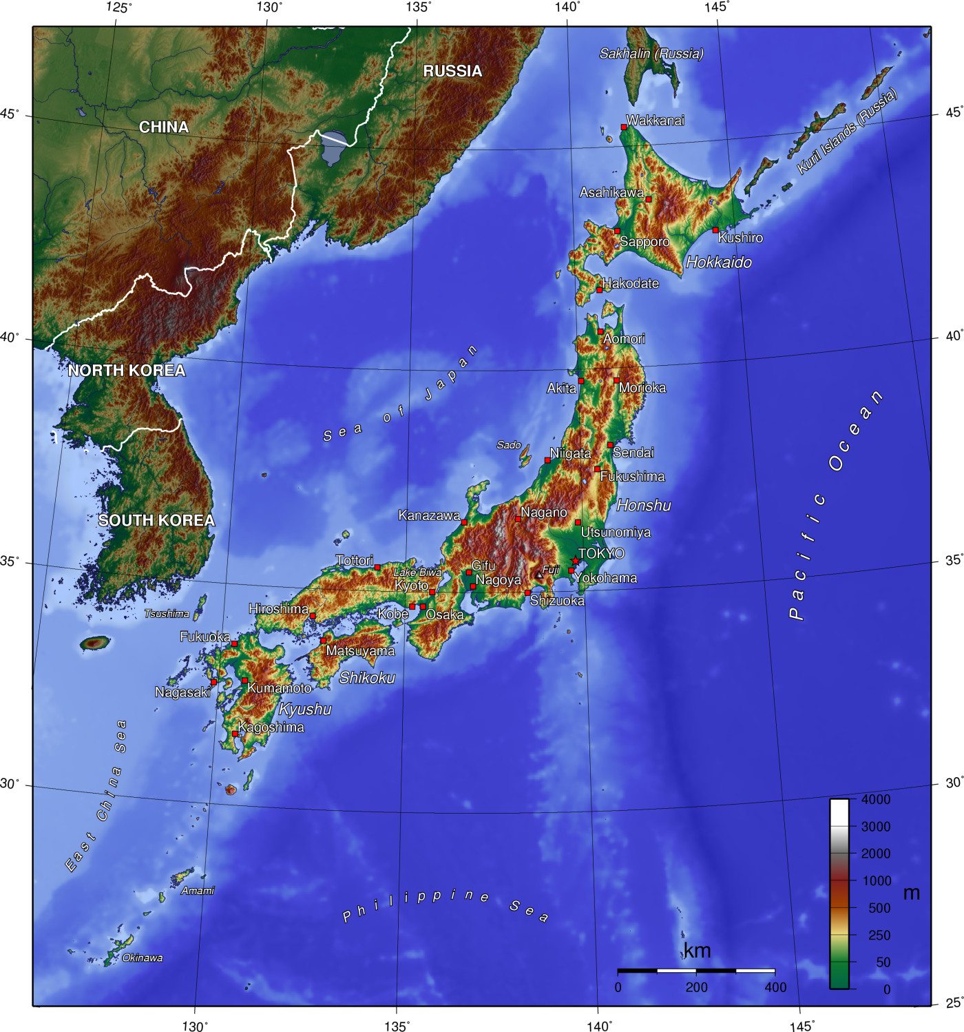 Map Of Japan Topographic Map Worldofmaps Net Online Maps And