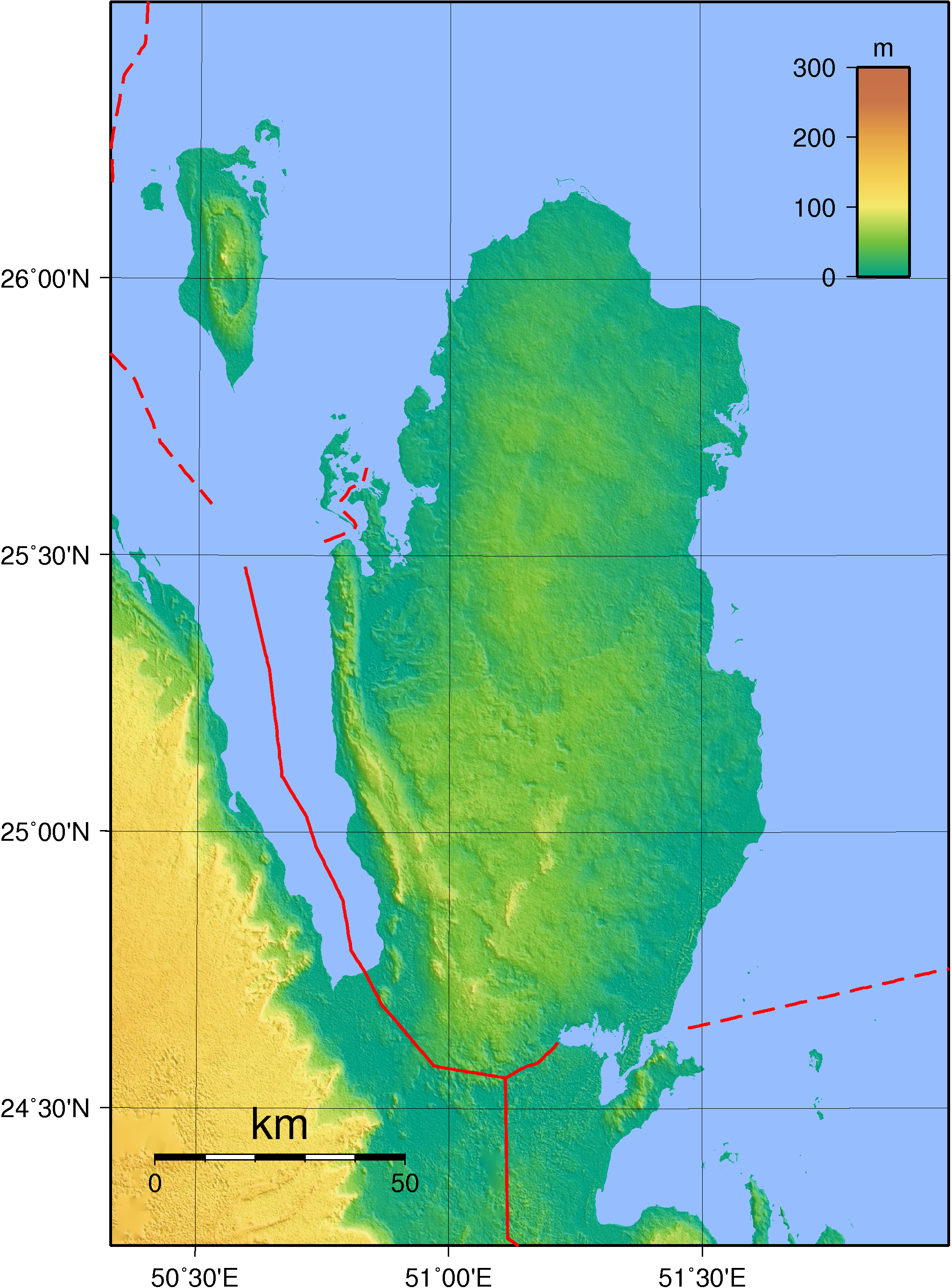 Map of Qatar (Topography) : Worldofmaps.net - online Maps and Travel Qatar Area Map on