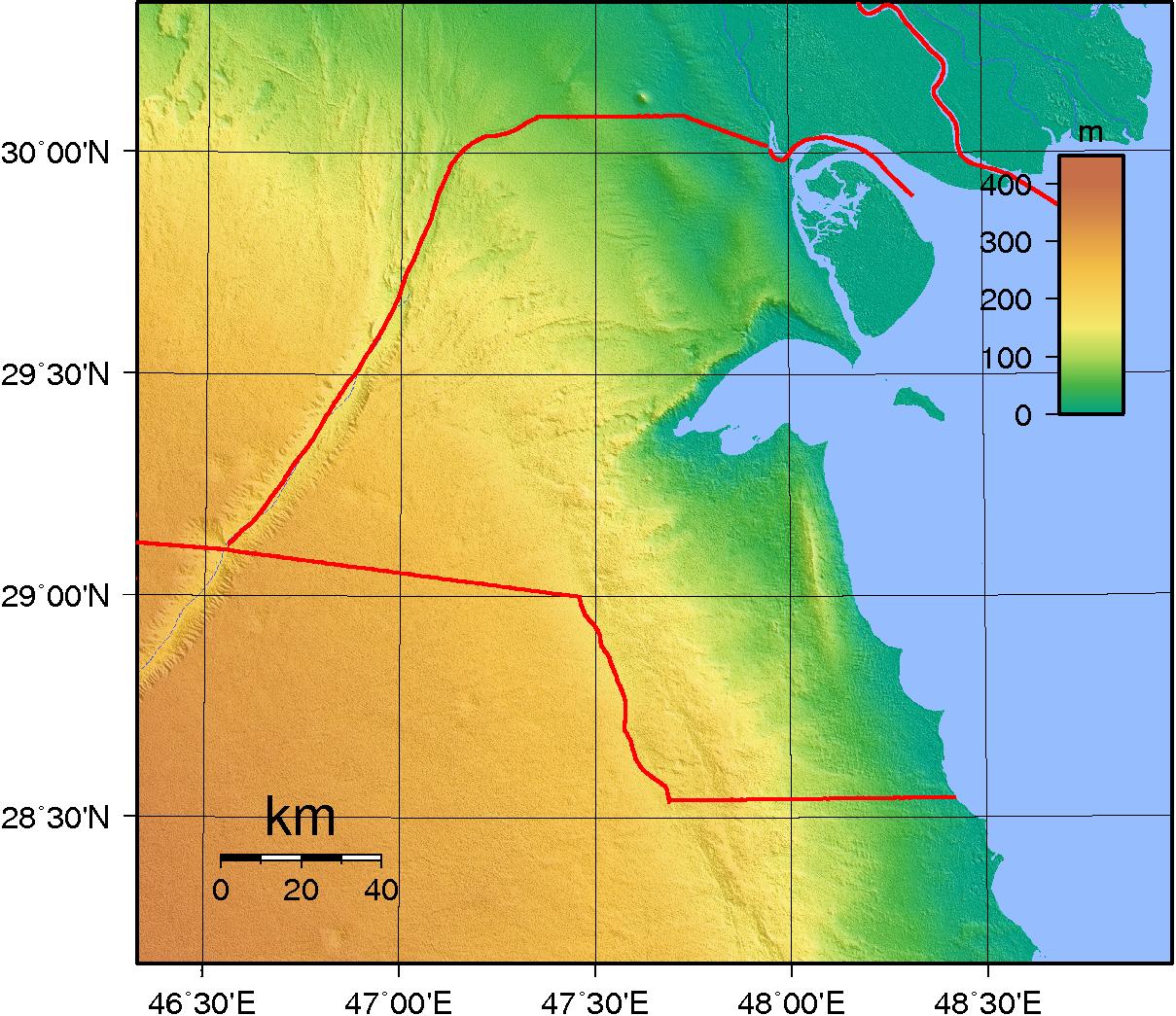 Map of Kuwait (Topography) : Weltkarte.com - Karten und ...