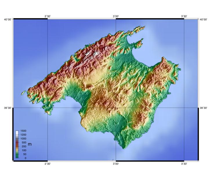 Map of Mallorca (Topographic Map) : Weltkarte.com - Karten und ...