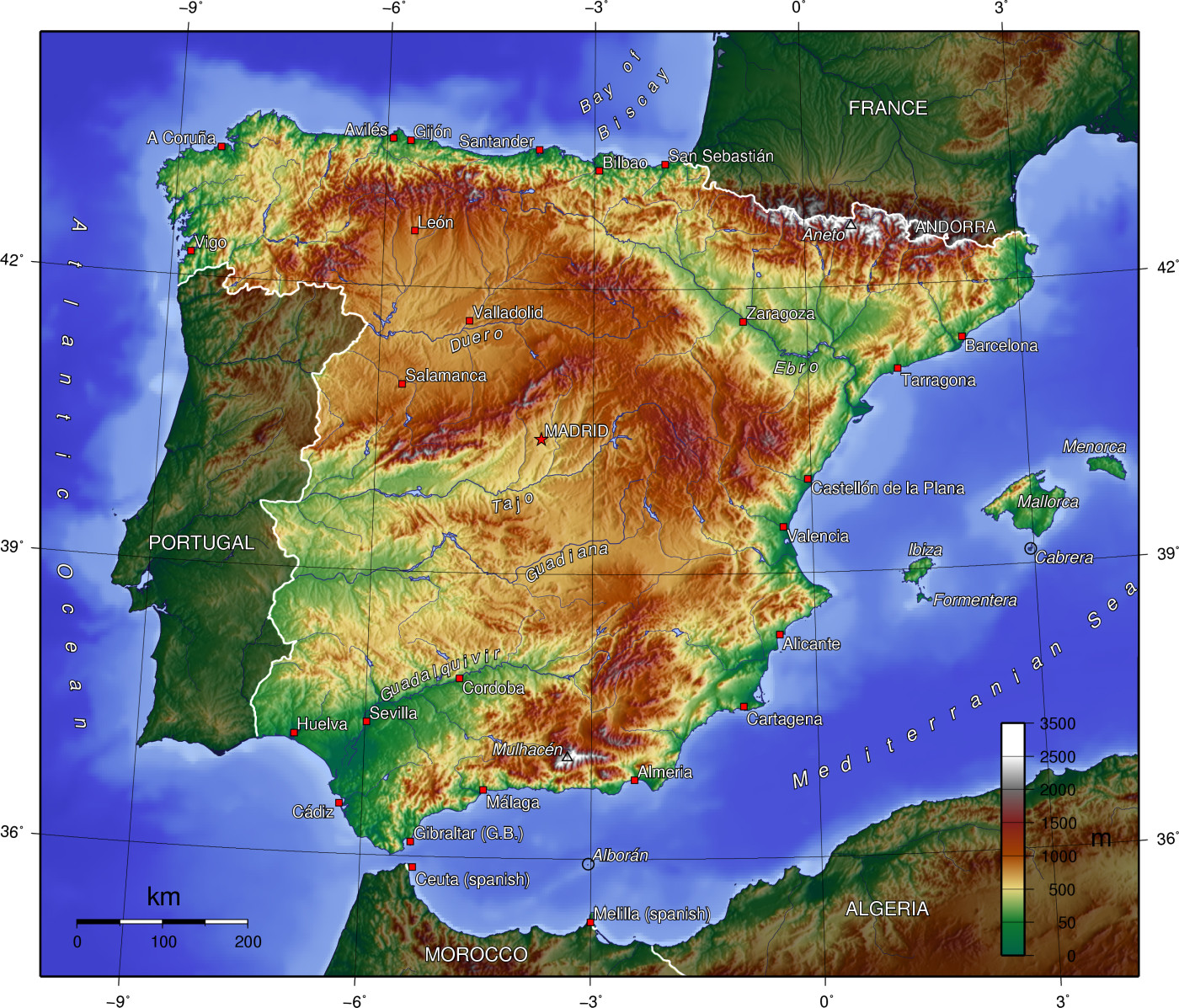 Map of Spain (Topographic Map)