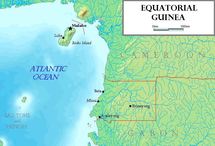 Map of Equatorial Guinea (Topographic Map) : Worldofmaps.net ...