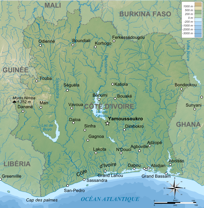 Map of Ivory Coast (Topographic Map) : Worldofmaps.net - online Maps ...