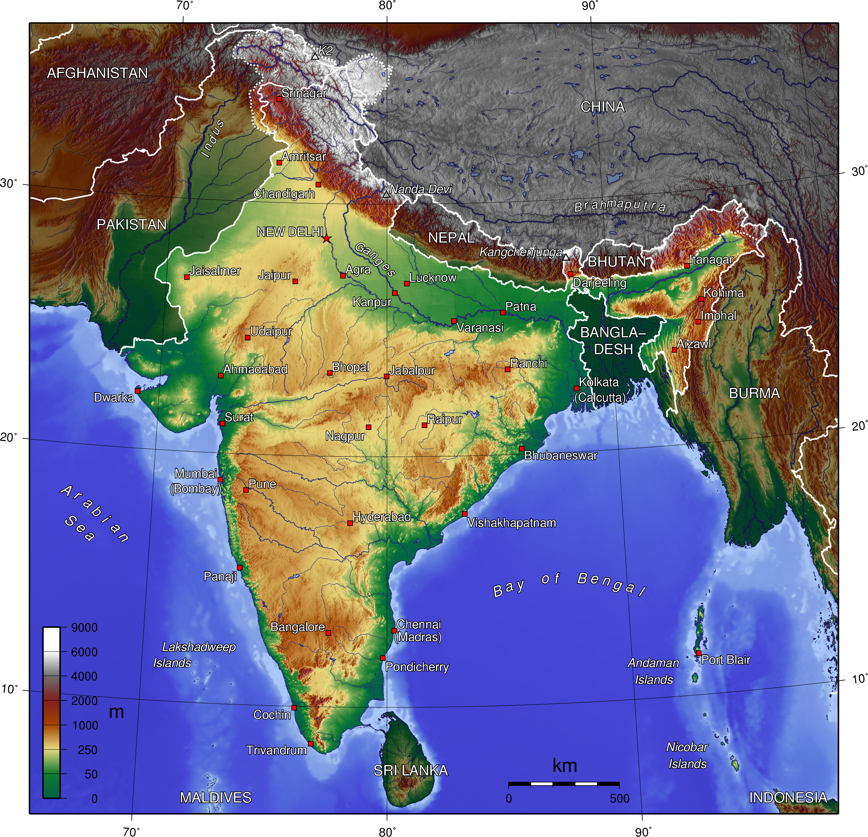 Map of India (Topographic Map) : Worldofmaps.net - online Maps and A Map Of India on