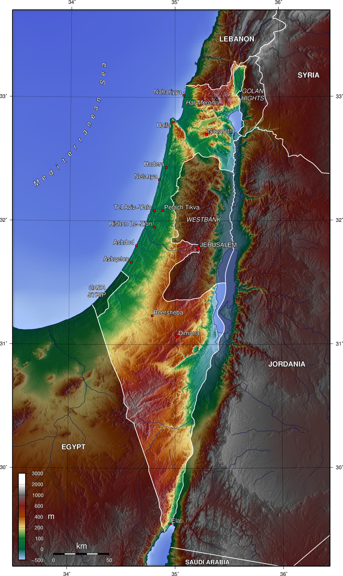 Map Of Israel Topographic Map Worldofmaps Net Online